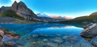 Moraine lake panorama Royalty Free Stock Image