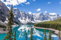 Moraine lake in Banff National Park, Canadian Rockies, Canada. royalty free stock photo