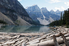 Moraine Lake Banff National Park. Moraine Lake, a glacially-fed lake in Banff National Park, Alberta, Canada, situated in the Valley of the Ten Peaks. Surrounded Stock Photo