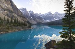 Moraine Lake, Banff National Park. Photograph of Moraine Lake, Banff National Park, Rocky Mountains, Canada. It is one of the most photographed scenes in the stock image