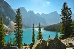 Moraine lake in Banff National Park royalty free stock photo