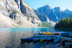 Moraine Lake Boats. Colorful boats on Moraine Lake, Canada Stock Images