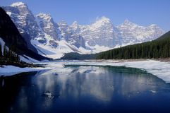 Moraine lake. Canada. Early morning on the Moraine lake. Banff National park. Canada Royalty Free Stock Photography