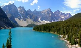 Moraine lake, Canada. Moraine lake, Banff National Park - situated in the Valley of the ten peaks it featured in  Canadian 20 dollars bill Royalty Free Stock Photography