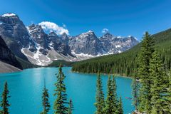 Moraine lake in Canada. Beautiful turquoise waters of the Moraine Lake with snow-covered peaks above it in Rocky Mountains, Banff National Park, Canada Royalty Free Stock Images