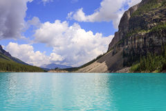 Moraine Lake. Canoeing on a  peaceful afternoon at Moraine Lake, Banff national park, Canada Stock Photo