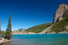Moraine Lake and Canoes. Canoes on amazing Moraine Lake Royalty Free Stock Photos