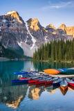 Moraine Lake Canoes Royalty Free Stock Image