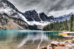 Moraine Lake on a Cloudy Day Stock Photo