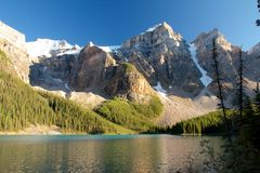 Moraine Lake Evening. Amazing panorama view on Moraine Lake at dusk Royalty Free Stock Photography