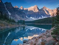 Moraine Lake Banff Alberta. Moraine lake is a glaciated lake in Banff, Alberta Canada Royalty Free Stock Photography