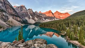 Free Moraine Lake In Banff National Park In Canada Taken At The Peak Color Of Sunrise Royalty Free Stock Photos - 160065078