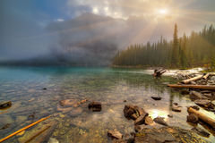 Moraine lake inlet. In Banff National Park, Canada,  Valley of the Ten Peaks Stock Photos