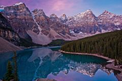 Moraine lake in Lake Louise, Canada. Sunrise at Moraine lake in Lake Louise, Banff NP, Canada stock images