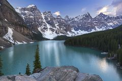 Moraine Lake Landscape View Banff National Park Canadian Rocky Mountains royalty free stock images