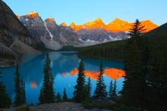 Moraine Lake sunrise with beautiful colors