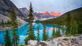 Moraine Lake Mountain Top View Royalty Free Stock Image