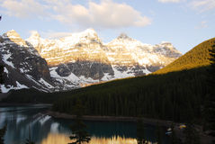 Moraine lake and mountains Stock Photo