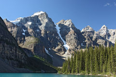 Moraine Lake and mountains. The Moraine Lake and the 10 peaks in Canada stock images