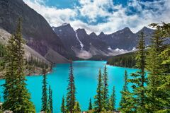 Free Moraine Lake Near Lake Louise Village In Banff National Park, Alberta, Rocky Mountains Canada. View From Rockpile Trail Royalty Free Stock Images - 178169879