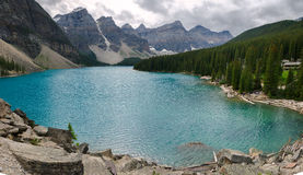 Moraine Lake. Overview of Moraine Lake in Canada Stock Images