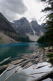 Moraine Lake. Overview of Moraine Lake in Canada Royalty Free Stock Photo