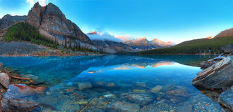 Moraine lake panorama Stock Images