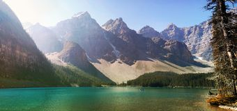 Moraine lake panorama Stock Image