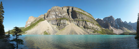 Moraine lake panoramic view. Alberta. Canada Royalty Free Stock Image