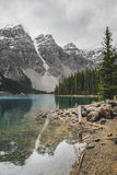 Moraine Lake. Peaks reflecting off of Moraine lake, Banff, Alberta Royalty Free Stock Photo