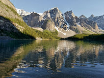 Moraine Lake reflection - Alberta, Canada Royalty Free Stock Images