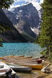 Moraine Lake in the Rocky Mountains. Moraine Lake is a beautiful turquoise mountain lake nestled in the snow covered Rocky Mountains in Banff National Park in stock photos