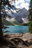 Moraine Lake in the Rocky Mountains. Moraine Lake is a beautiful turquoise mountain lake nestled in the snow covered Rocky Mountains in Banff National Park in royalty free stock photos
