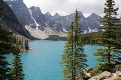 Moraine Lake in the Rocky Mountains. Moraine Lake is a beautiful turquoise mountain lake nestled in the snow covered Rocky Mountains in Banff National Park in stock images