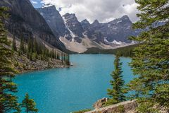 Moraine Lake in the Rocky Mountains Stock Photo