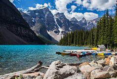 Moraine Lake in the Rocky Mountains. Moraine Lake is a beautiful turquoise mountain lake nestled in the snow covered Rocky Mountains in Banff National Park in royalty free stock photo