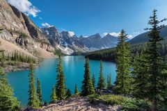 Moraine lake in Rocky Mountains, Canada. Royalty Free Stock Images