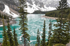 Moraine Lake in Spring, Rocky Mountains (Canada) Royalty Free Stock Image