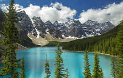 Moraine Lake. A summer afternoon over Moraine Lake in Banff National Park, Alberta stock images