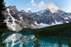 Moraine Lake at sunset Royalty Free Stock Images