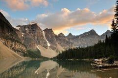 Moraine Lake Sunset, Banff National Park. Alberta, Canada Stock Images