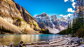 Moraine Lake and the surrounding snow capped mountains. In Banff National Park in the Canadian Rockies under blue sky Royalty Free Stock Photography