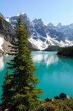 Moraine Lake. Turquoise waters of Moraine Lake in Banff National Park, Alberta Canada Stock Photos