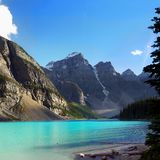 Moraine Lake Valley Mountains, Banff National Park, Canada. Moraine Lake and Valley of the 10 Peaks. Canadian Rockies. Mountains in Banff National Park. Alberta Stock Photography
