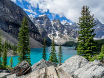 Moraine lake in the Valley of Ten Peaks Royalty Free Stock Photos
