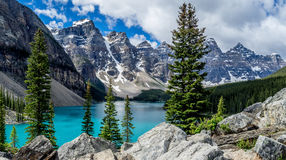 Moraine lake in the Valley of Ten Peaks Royalty Free Stock Image