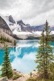 Moraine Lake and Valley of the Ten Peaks in Banff National Park Stock Images