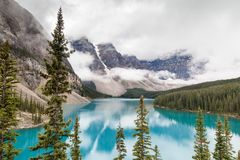 Moraine Lake and Valley of the Ten Peaks in Banff National Park Stock Image