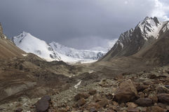 Moraine landscape. In Kuylu region of Central Tien-Shan Stock Image