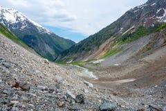 Moraine ravine. Ravine of Chalaadi, view from the foot of the glacier. The Caucasus. Near Mestia town, Svaneti, Georgia Stock Photo